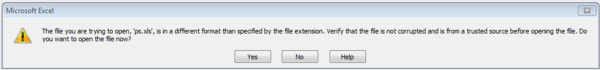 File Extension message screen shot
