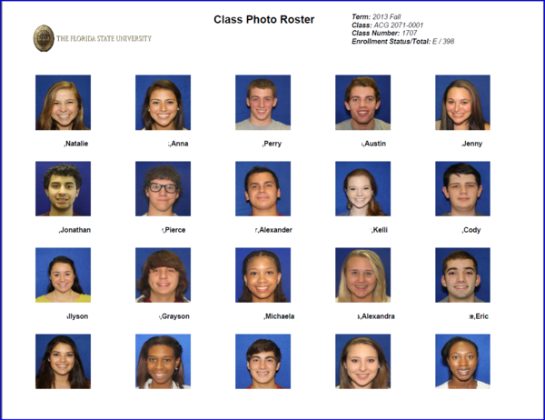 print class rosters with or without students photos myfsu student