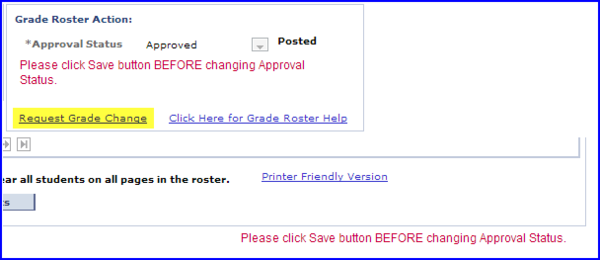 Request Grade Change link screen shot