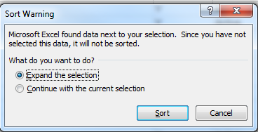 Sort Warning dialog box screen shot