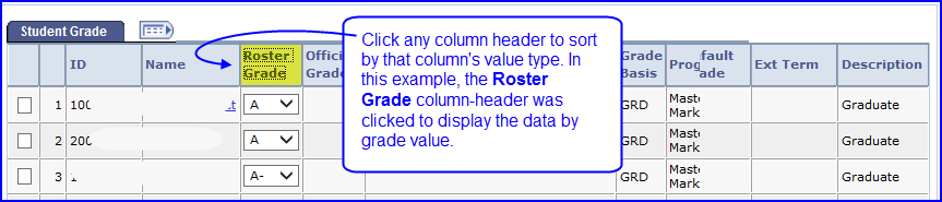Column Header Sort screen shot