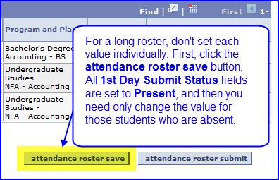 Attendance Roster Save button screen shot