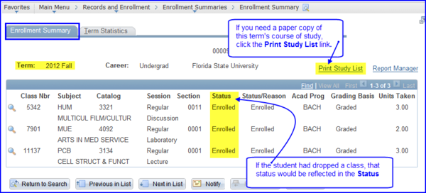 Enrollment Summary tab screen shot
