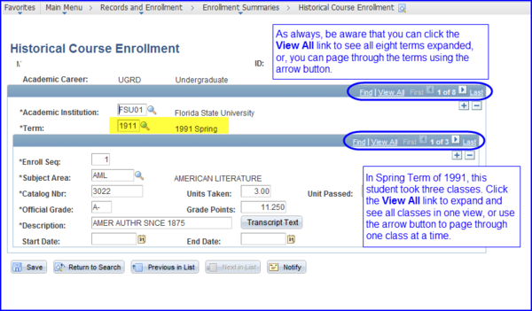 Historical Course Enrollment page screen shot