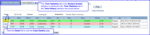 Student Grade inquiry tab screen shot