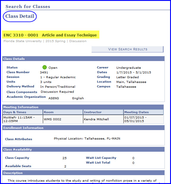 Class Detail page