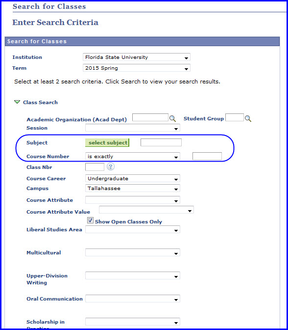Enter Search Criteria page