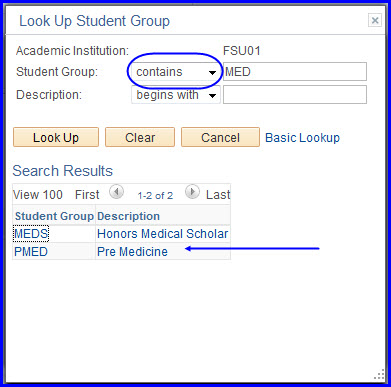 Look Up Student Group search