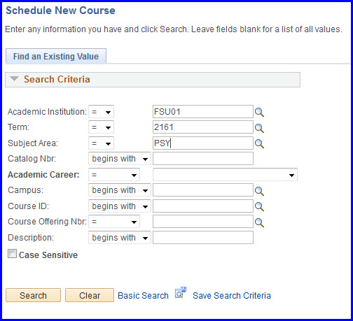 Schedule New Course Search