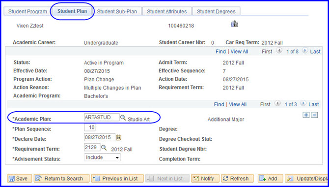 Student Plan tab-Academic Plan field selection