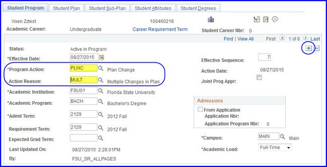 Student Program tab selections