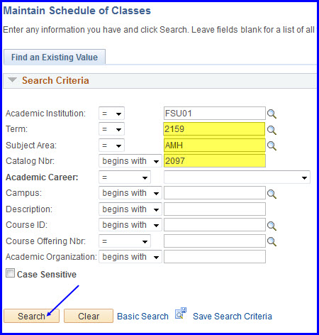 Maintain Schedule of Classes Search page