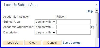 Look Up Subject Area fields