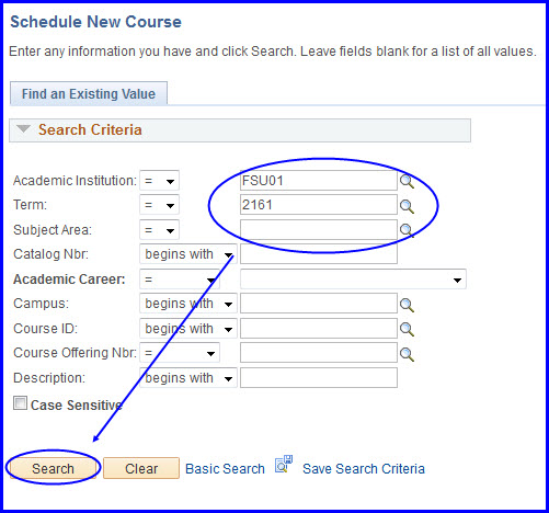 Schedule New Course Look Up and Search