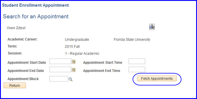 Fetch Appointments button