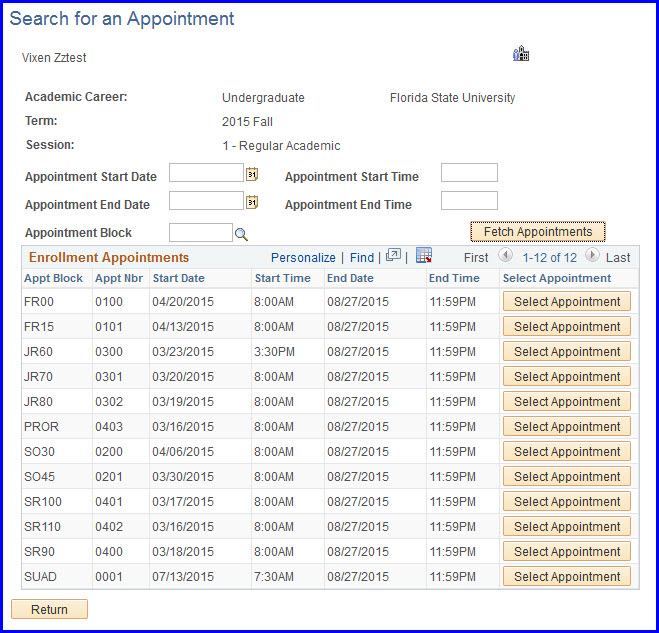 Select Appointments page