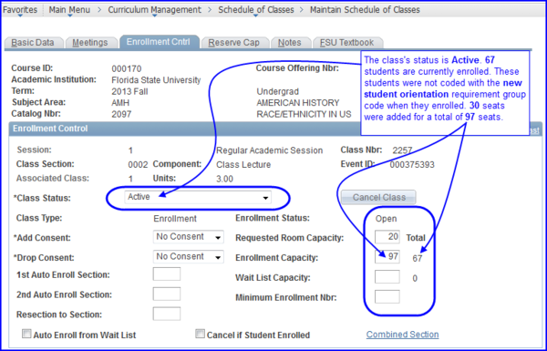 Enrollment Control--Value Plus 30 screen shot