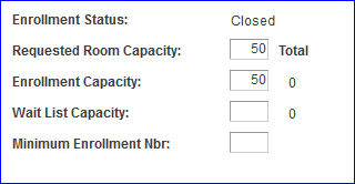 Enrollment Control--Value Set to 50 screen shot