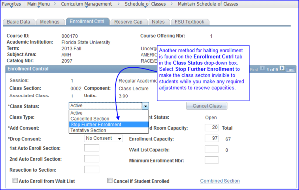 Stop Further Enrollment screen shot