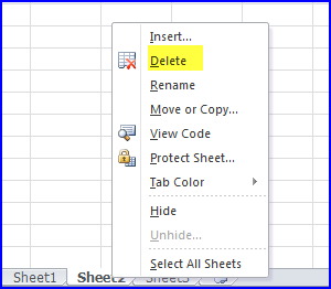 Delete worksheet screen shot