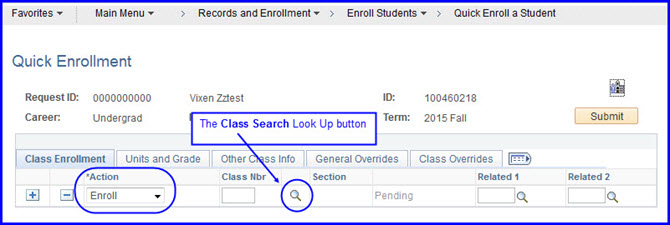 Action_Enroll and Class Search look up button