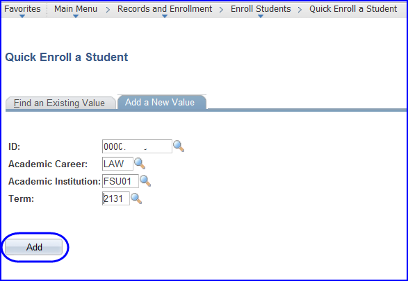 Quick Enroll --- Add a New Value screen shot