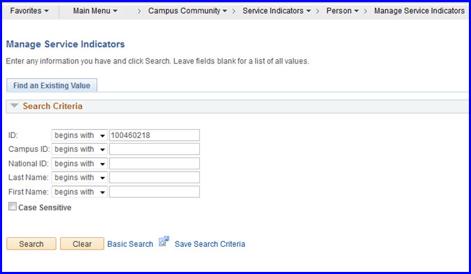 Manage SIs Search page