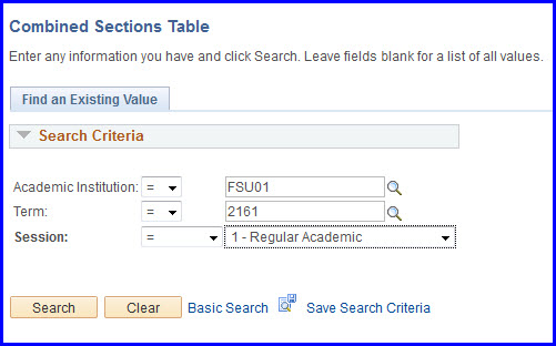 Combines Sections Table search