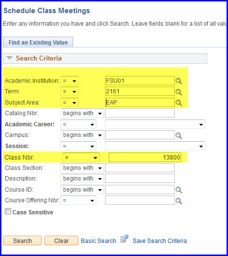 Schedule Class Meeting Search
