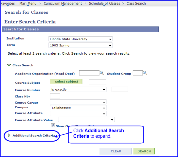Search for Classes-Enter Search criteria page screen shot