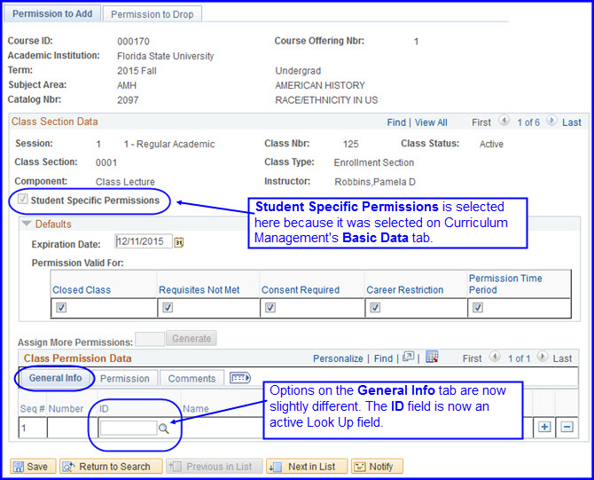Student Specific Permissions check box and General Info tab ID field