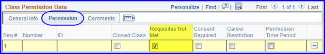 Permission tab-Requisites Not Met check box