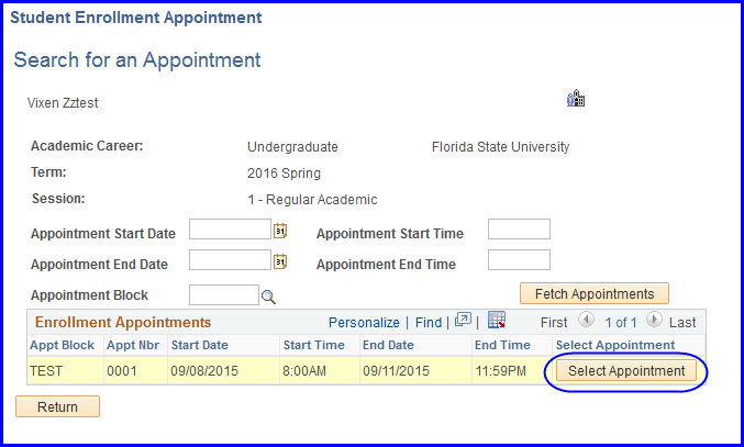 Select Appointment button