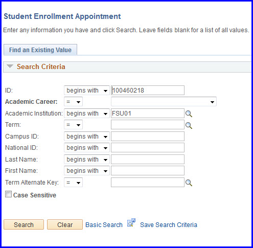 Student Enrollment Appointment Search