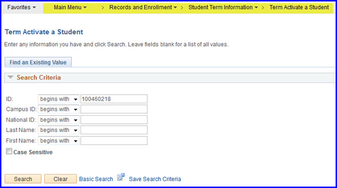 Term Activate a Student-Search