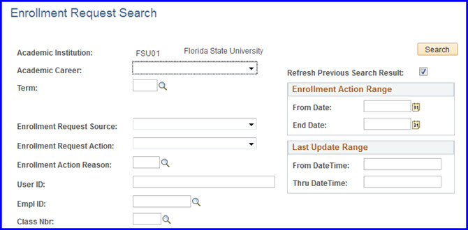 Enrollment Request Search page