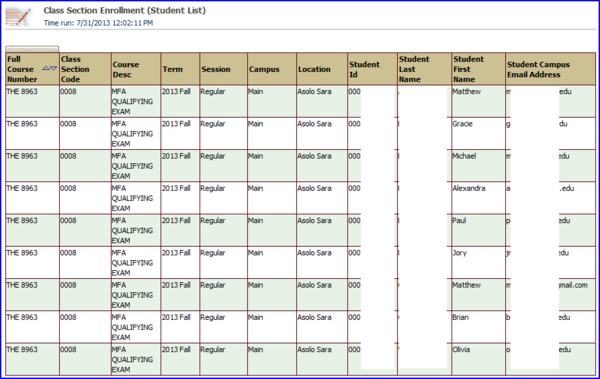 Class Section Enrollment detail view with students screen shots
