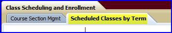Schedule Classes by Term tab screen shot