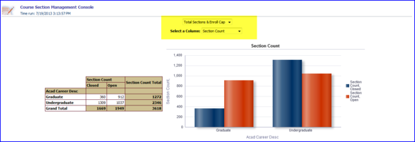 Sction Count column data view screen shot