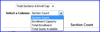 Sections & Enroll Cap Column choices screen shot