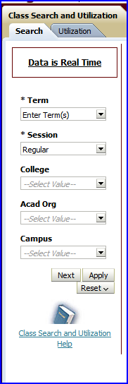 Class Search and Utilization dashboard screen shot