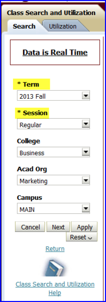 Search tab using Business, Marketing, and Main screen shot