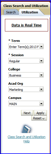 Utilization using Business, Marketing and Main campus screen shot