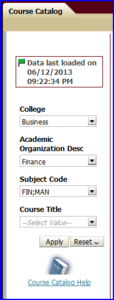 Course Catalog dashboard including values screen shot