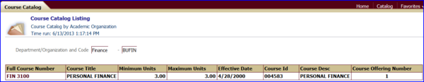 Course Catalog Listing report screen shot