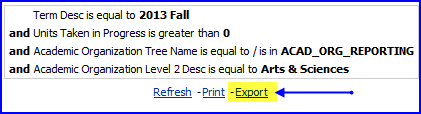 Export link screen shot