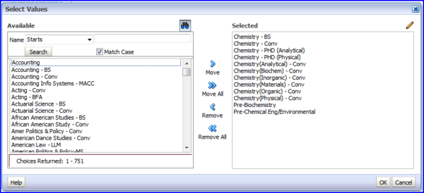 Select Values with Chemistry values screen shot