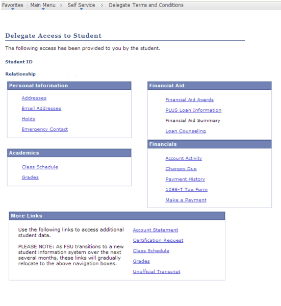 Delegated Access to Student-Delegate View screen shot