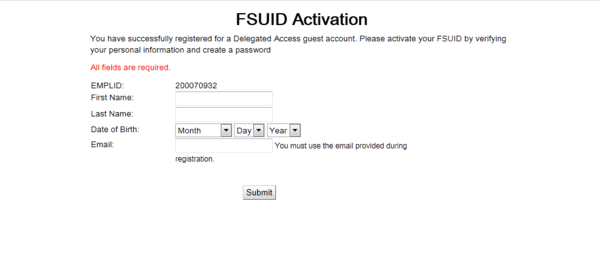 FSUID Activation page screen shot