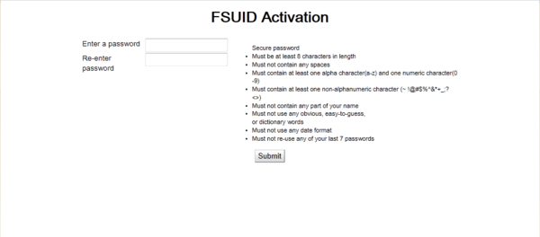 FSUID Activation---Password screen shot